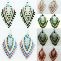 Russian Leaf Earring Beadwork Kit with MIYUKI Delicas - You select the colours